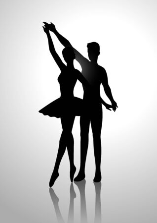 dance steps: Silhouette illustration of a couple dancing ballet