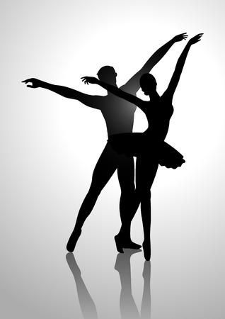 bailarines silueta: Ilustración de la silueta de una pareja de baile de ballet