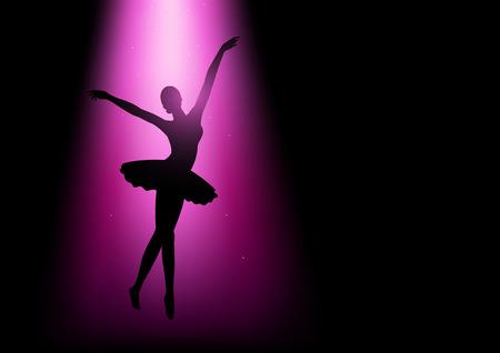 danza clasica: Ilustración de la silueta de una bailarina con luz de color rosa Vectores