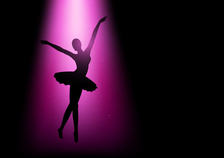 Silhouette illustration of a ballerina under pink light