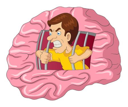 analogy: Cartoon illustration of a man breaking free from brain