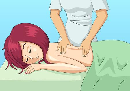 massage: Cartoon illustration of a woman having a massage Illustration