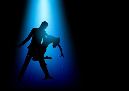 bailarines de salsa: Ilustración de la silueta de una pareja bailando bajo la luz azul Vectores