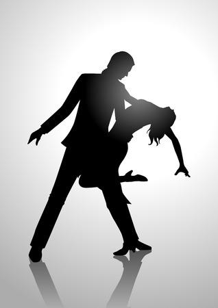 Silhouet illustratie van een paar dansen