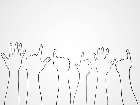crowd happy people: Line art illustration of raising hands pointing and cheering
