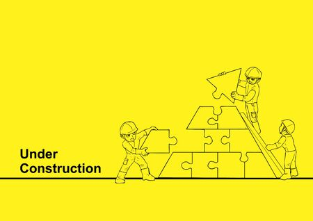 under: Line art illustration of a construction worker building a puzzle for under construction, teamwork theme