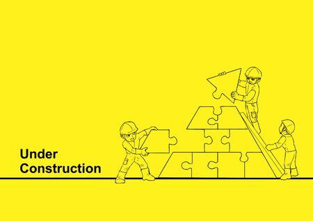 Illustrazione di arte di linea di un operaio edile che costruisce un puzzle per in costruzione, tema di lavoro di squadra