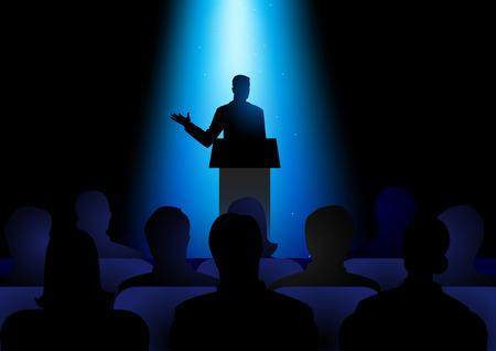 Ilustración de la silueta de la figura del hombre, dando un discurso en el escenario. Audiencia, seminarios, tema de la conferencia Ilustración de vector