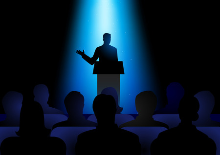 Silhouette illustration of man figure giving a speech on stage. Audience, seminar, conference theme
