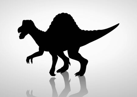 enormous: Silhouette illustration of a spinosaurus