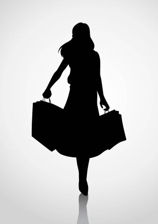 Silhouette of a woman figure carrying shopping bags