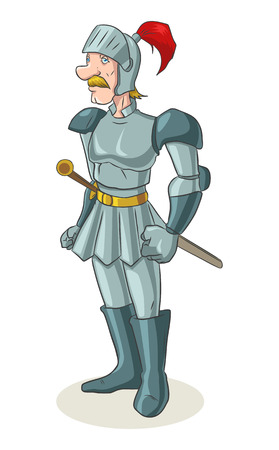heroic: Cartoon illustration of an old medieval knight