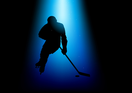 competitive sport: Silhouette illustration of a hockey player under blue spotlight