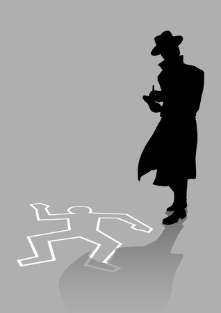 Silhouette illustration of a detective on crime scene Zdjęcie Seryjne - 54202447