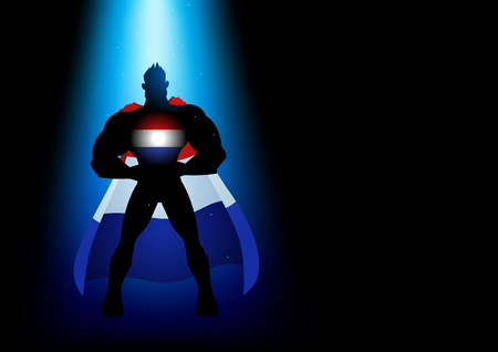 aspirational: Silhouette of a superhero under blue light with Netherlands insignia