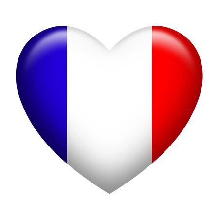 forme: En forme de coeur de la France insigne isolé sur blanc Banque d'images