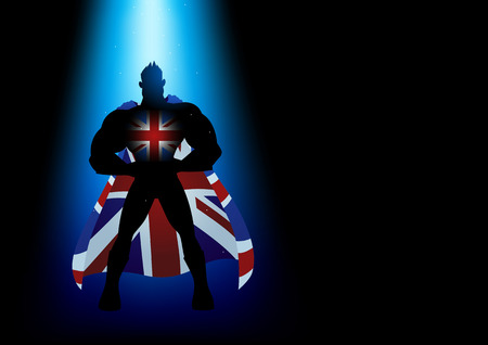 la union hace la fuerza: Superhero standing under blue light with United Kingdom insignia Vectores