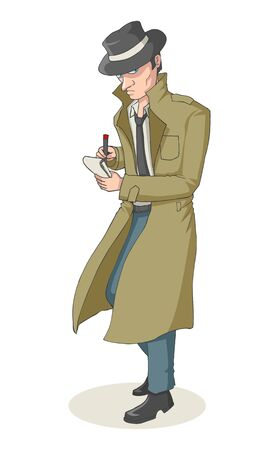 policia caricatura: Ilustración de dibujos animados de un detective escribir una nota
