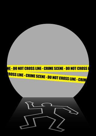 homicide: Illustration of a crime scene in the dark tunnel Illustration