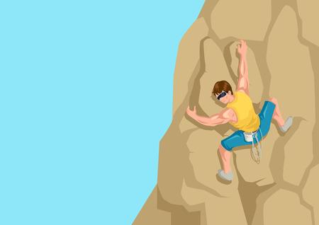 climbing: Cartoon illustration of a man climbing the rock Illustration