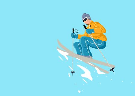 thrill: Cartoon illustration of a man playing ski Illustration