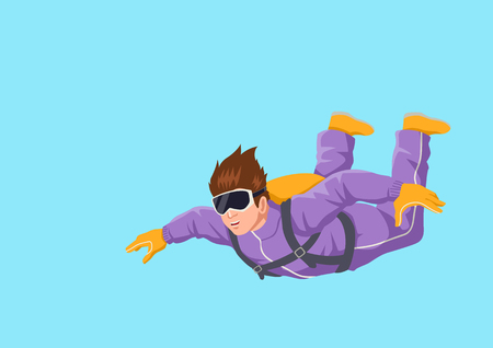 diving: Cartoon illustration of a man sky diving