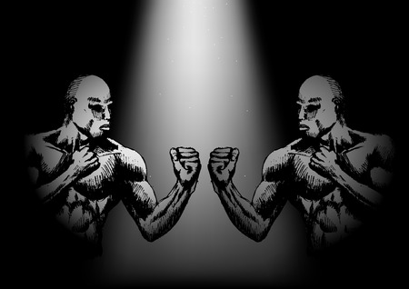 facing: Sketch of muscular male facing each other in ready to fight stance