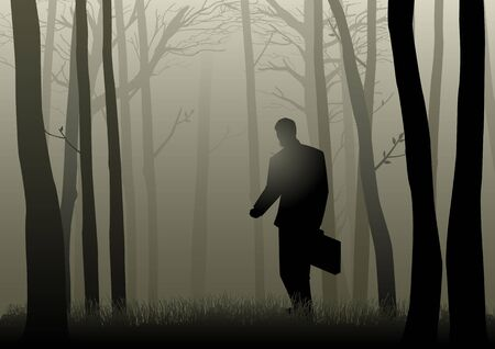fog forest: Silhouette of a man with suitcase walking in the dark forest, lost, confuse, crisis concept Illustration