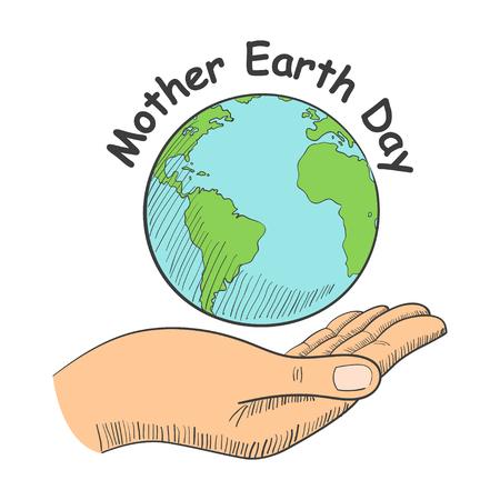 madre tierra: Ilustración de una mano que sostiene el planeta Tierra con el texto de la Madre Día de la Tierra