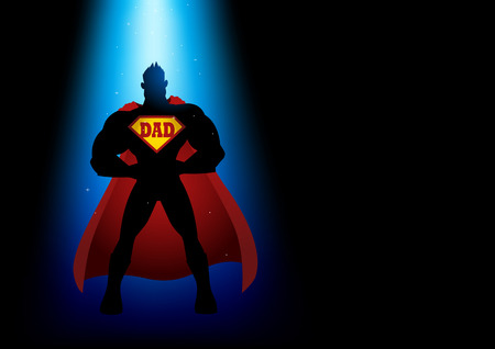 Silhouette of a superhero under blue light with dad symbol on chest