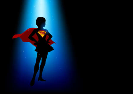 A superheroine standing under blue light with the word mom as the symbol Illustration