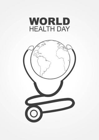 Modern simple graphic of stethoscope and planet Earth, for world health day concept
