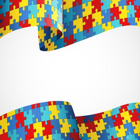 Kolorowe puzzle Flaga jako symbol autyzm? Ilustracje wektorowe