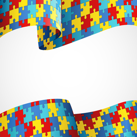 Colorful puzzle flag as the symbol for autism awareness