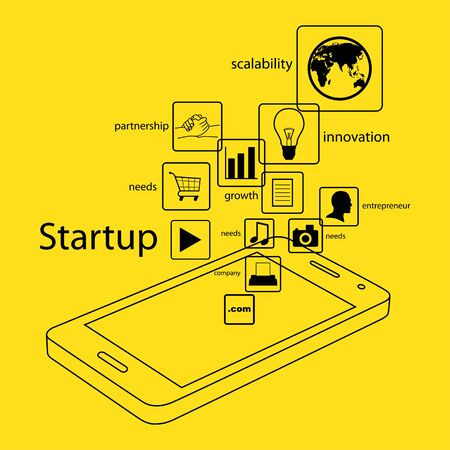 startup: Modern and simple info graphic of startup business