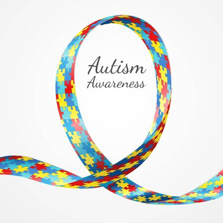 Colorful Puzzle Ribbon As The Symbol For Autism Awareness Royalty