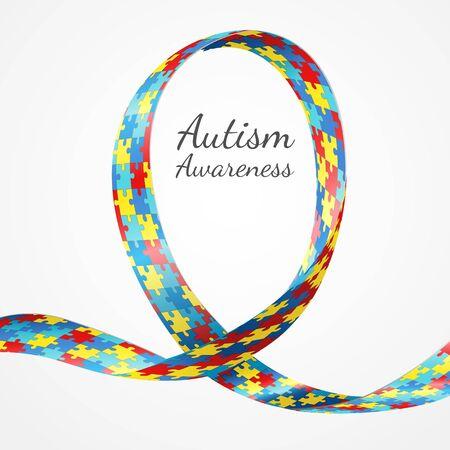 awareness ribbons: Colorful puzzle ribbon as the symbol for autism awareness