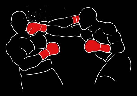 knock out: Line art illustration of two boxer
