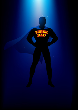Silhouette of a superhero with the words super dad on his chest