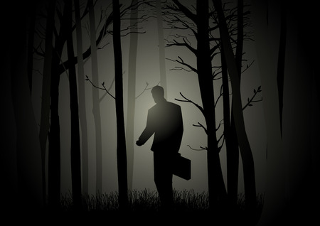 doomed: Silhouette of a man with suitcase walking in the dark forest, lost, confuse, crisis concept Illustration