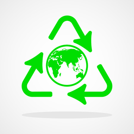 recycle icon: Recycle icon with earth globe