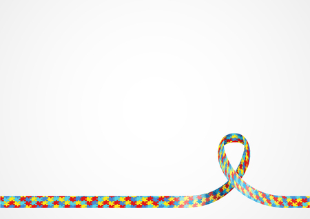 lay out: Colorful puzzle ribbon for autism awareness symbol, background template with copy space for cover, page or advertisement design lay out Illustration