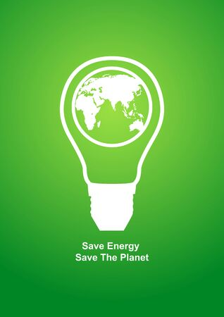 Modern graphic of a light bulb with earth globe in it, cover design template with copy space