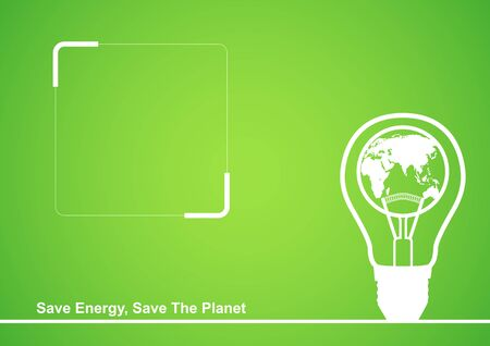 saving: Line art illustration of a light bulb with earth globe in it, cover design template with copy space Illustration