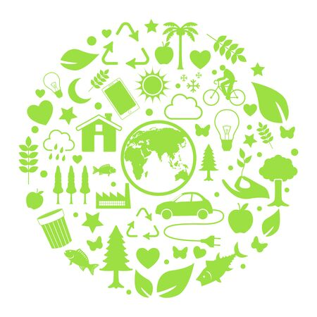 green environment: Green, ecology and environment icon in circle Illustration