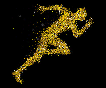 sprinter: A sprinter made from gold dust Illustration