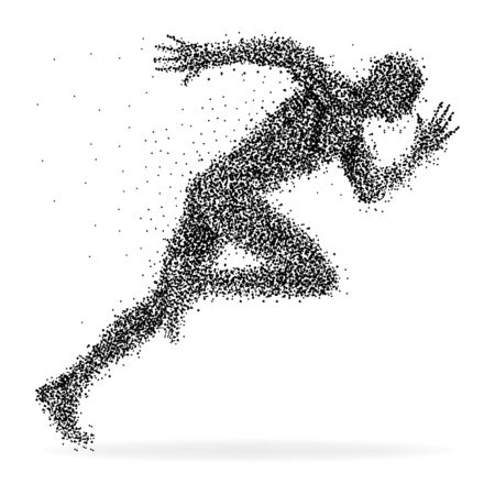 figuras abstractas: Un velocista hecho de puntos aislados en blanco
