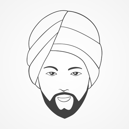 turban: Line art illustration of an Indian man wearing a turban