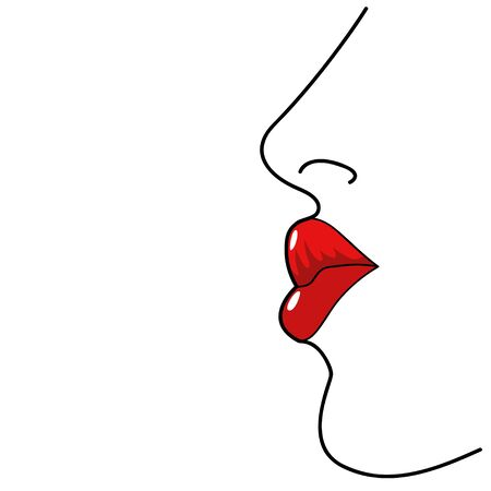 red lips: Line art illustration of woman lips Illustration