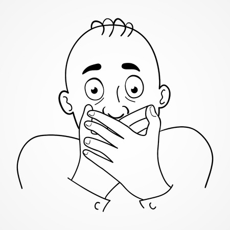 Cartoon illustration of a man with surprised or embarrassed face